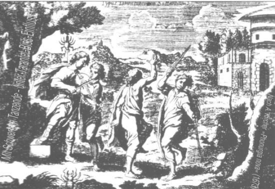 Mit Schwertern Tanzende - unter Tarantel-Biss-Einfluss; Abb. nach A.Kircher, »Phonurgia nova« (1673)