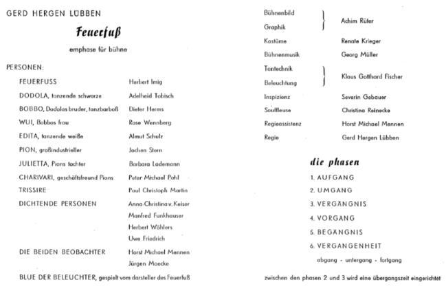 G.H.Lübben > »FEUERFUSS«-Programmzettel > Uraufführung 15.II.1961